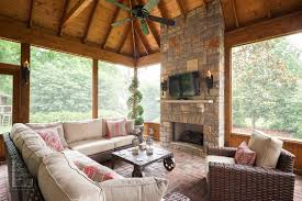nashville screen porch outdoor fireplace