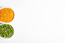 guisantes verdes y lentejas naranjas