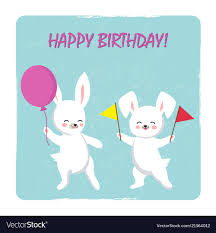 birthday postcard template birthday postcard template with two happy bunnies vector image