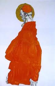 egon schiele standing figure with halo