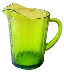 more views antique green glass pitcher