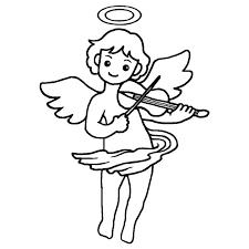 天使のバイオリン白黒天使クリスマス無料イラスト素材
