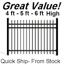 Aluminum Fence BLACK Wrought Iron Spear Top 4ft 5ft 6ft High x