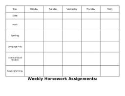 Weekly Homework Assignment Sheet Homework Assignment Sheet Worksheets Teachers Pay Teachers