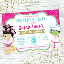 Details About Pamper Spa Party Birthday Invitations Girls Invite Party Supplies Beauty Facial