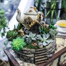 miniature fairy garden planter flower pot sculpture status tea pot house micro landscape resin garden flowerpot no plants