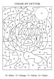 Small Picture Halloween Color By Letters Activity Coloring Pages for Kids