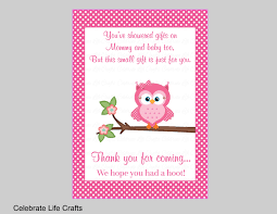 Owl Baby Shower Thank You Favor Sign Printable Baby ShowerOwl Baby Shower Thank You Cards