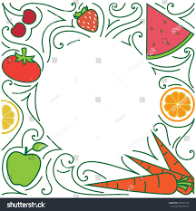 Vegetable Border Design Fruit Vegetable Border Design Cartoon Style Stock Vector