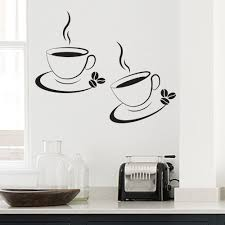 2 x coffee cup kitchen cafe wall art decal transfers