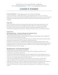 Marketing Resume Objective Inspiration Printable Marketing Resume