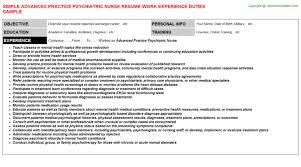 Psychiatric Nurse Resume Advanced Practice Psychiatric Nurse: Free Career Templates Downloads ...