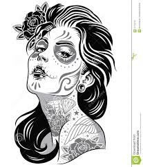 Day Of Dead Girl Black And White Illustration Stock Vector
