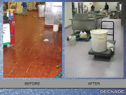 Before And After Images Deckade Flooring Installation Deckade - Commercial kitchen floor