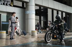jang nara rides her motorcycle in the