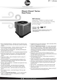 Rheem Classic Series Single Stage Rp14 Specification Sheet