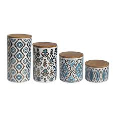 american atelier metallic gold and blue ceramic canister set kitchen storage jars with wooden lids