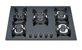 kitchen gas stove. Black Tempered Glass Top Gas Hob 5 Burner Cooktop Cast Iron Pan Support Kitchen Stove G