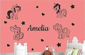 personalised name girls my little pony home decor wall stickers