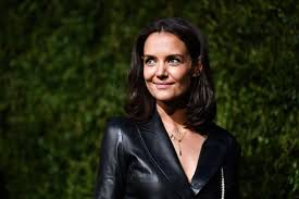 katie holmes wore slick leather on leather for the chanel dinner in new york