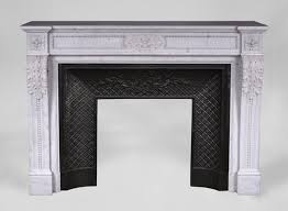 antique louis xvi style fireplace in carrara marble with acanthus leaves and pearls frieze