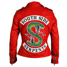 riverdale southside serpents cheryl blossom red leather jacket for women 1 1