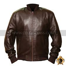 men s brown slim fit rib leather jacket