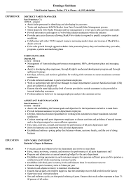 Parts Of A Resume Parts Manager Resume Samples Velvet Jobs 8