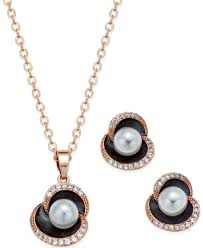 city by city rose gold tone imitation pearl and pave pendant necklace and matching earrings set
