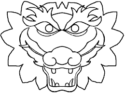 template of a dragon chinese dragon head clipart coloring page