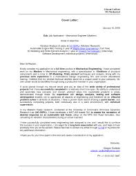 Gallery Of Mechanical Engineering Cover Letters