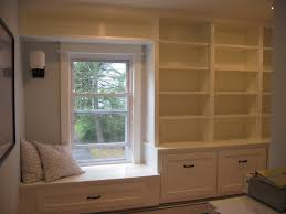 window seat furniture. Furniture. White Wooden Bookcase With Racks And Drawers Connected By  Window Seat Furniture W