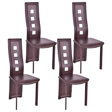 set of 4 dining chairs. Costway Set Of 4 Dining Chairs Steel Frame High Back Armless Home Furniture Brown 0 N