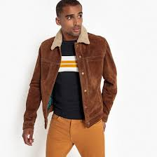 leather jacket with press studs camel brown la redoute collections la redoute