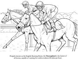Race Horse Coloring Sheets Race Day