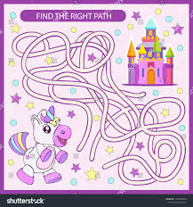 find the right path maze from unicorn to castle children funny riddle entertainment and amut