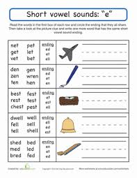 A collection of english esl worksheets for home learning, online practice, distance learning and english classes to teach about short, vowels, short vowels. Short Vowel Sounds E Worksheet Education Com