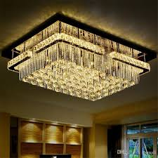modern led rectangular k9 crystal chandelier ceiling light flush mount led ceiling light fixture pendant lamp for living room hotel hallway wooden