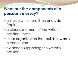 written work in which a writer presents a case for or against a  what are the components of a persuasive essay