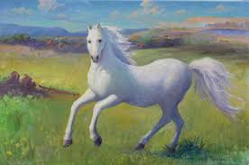 west painting white horse by gwen carroll
