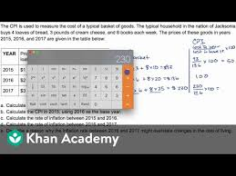 projected inflation calculator example question calculating cpi and inflation video
