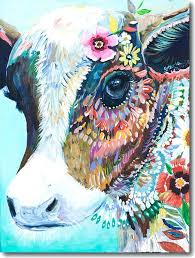 colorful cow canvas c for cow colorful canvas horse paintings