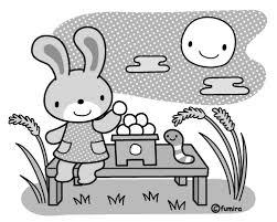 お月見うさぎのイラストモノクロ 子供と動物のイラスト屋さん