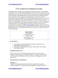 Ccna Certified System Administrator Resume Network Switch