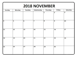 Free November 2018 Blank Calendar Sample Template | Free Printable ...
