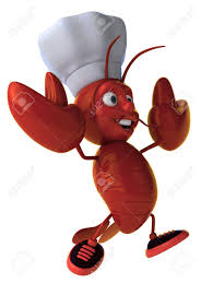Cartoon Lobster With Chef Hat Running ...