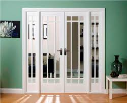image of interior french doors with glass and transom window