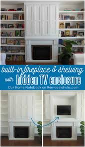 Bed With Tv Built In Built In Fireplace Surround And Shelving With Hidden Tv Nook