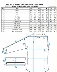 Shirt Size Chart Absolute Rebellion Women Dress Shirt Measurement