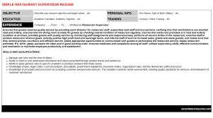 Restaurant Supervisor Resume Cover Letter Cv Letters Resumes